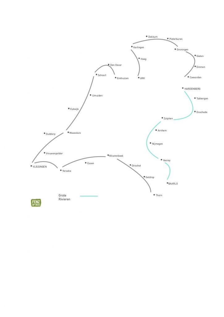 Lijnen kaart grenzen Grote Rivieren