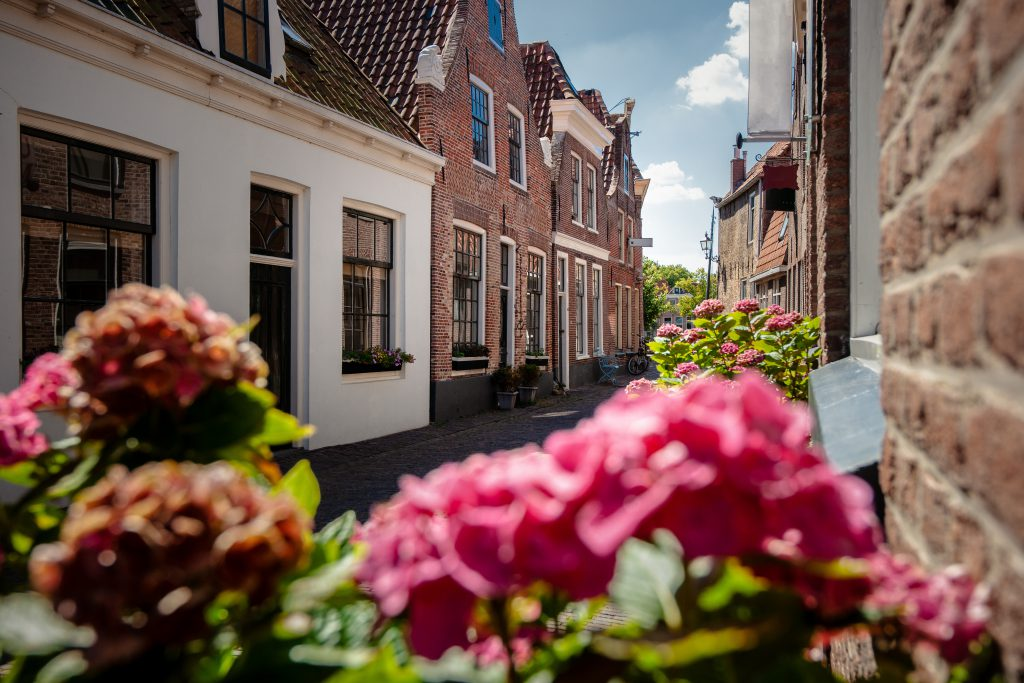 Dutch narrow street with old facades